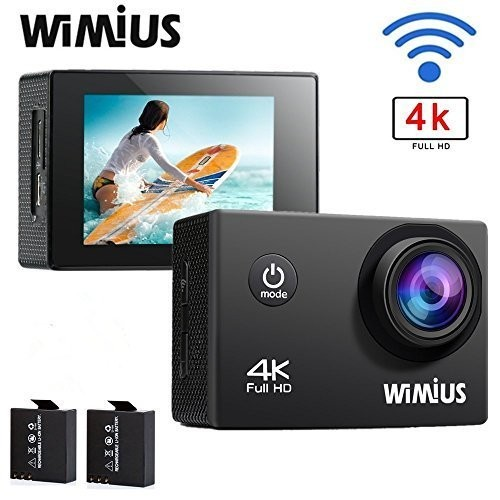 WIMIUS 4K Sports Action Camera Wifi 16MP Ultra HD Waterproof Video Camera 2.0'' 170° Wide Angle Include Waterproof Case2pcs Batteries and Full Accessories Kits (Q1-Black) [並行輸入品]